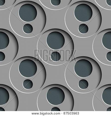 Seamless Damask Pattern. Vector Circle Background. Gray Regular Texture