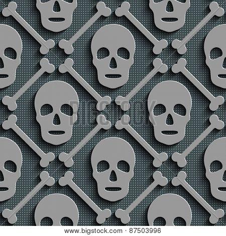 Seamless Skull Pattern. Abstract Gray Background. Vector Regular Texture