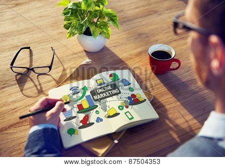 Online Marketing Global Communication Concept