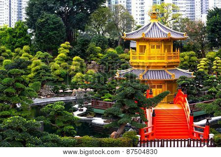 The golden pavilion of perfection in nan lian garden Hong kong china