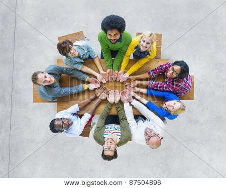 Aerial View Cheerful People Togetherness Support Unity Concepts