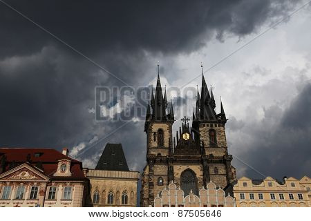 Tyn Church in Old Town Square in Prague, Czech Republic.