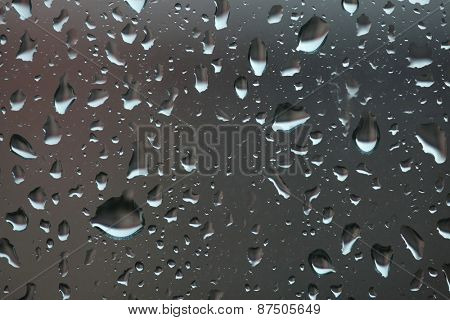 Raindrops on glass. Bad weather.