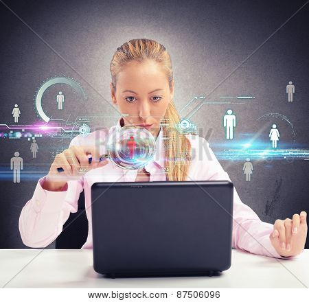 Woman looking on social networks