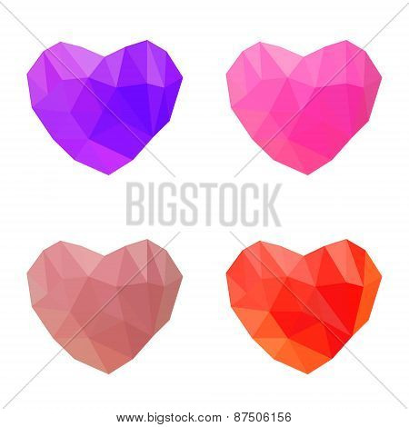 Polygonal Hearts On White Background
