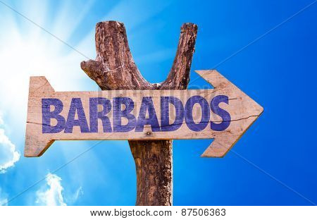 Barbados wooden sign with sky background