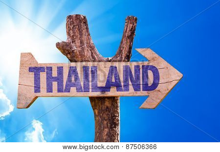 Thailand wooden sign with sky background