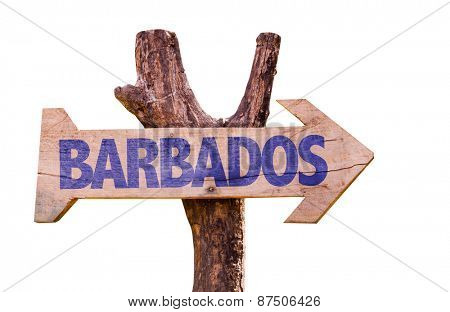 Barbados wooden sign isolated on white background