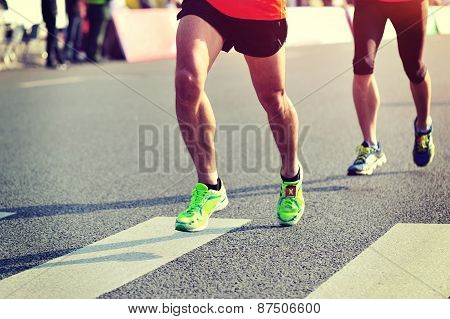 arathon running race, people feet on city road