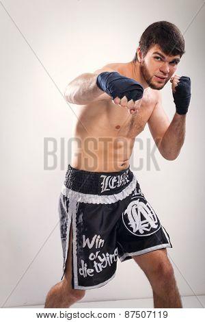 Thai boxing Artem Levin in studio