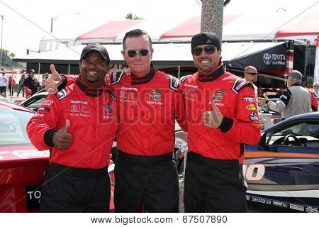 LOS ANGELES - FEB 7:  Alfonso Ribeiro, Robert Patrick, Joshua Morrow at the Toyota Grand Prix of Long Beach Pro/Celebrity Race Press Day at the Grand Prix Compound on FEB 7, 2015 in Long Beach, CA