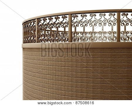 Image Forged Fence With Pillars And Railings, Isolated