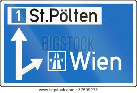 Direction Sign To Motorway In Austria
