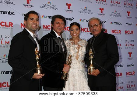 LOS ANGELES - SEP 27:  Youssef Delara, Lou Diamond Phillips, Gina Rodriguez, Edward James Olmos at the 2013 ALMA Awards - Press Room at Pasadena Civic Auditorium on September 27, 2013 in Pasadena, CA