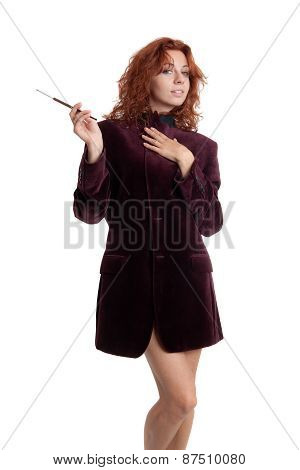 Girl With A Cigarette In Mouthpiece