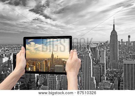 Monochromatic Midtown Manhattan In Reality And In Tablet