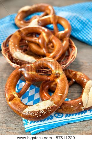Group of Bavarian pretzels on napkin