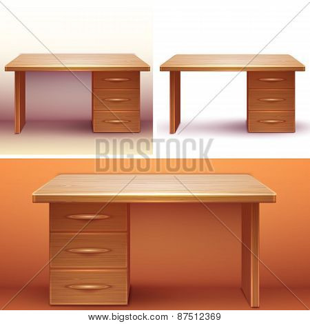 Vector realistic office wooden desk with shelves