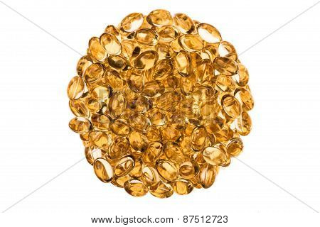 Circular Texture Of Transparent Vitamins Isolated
