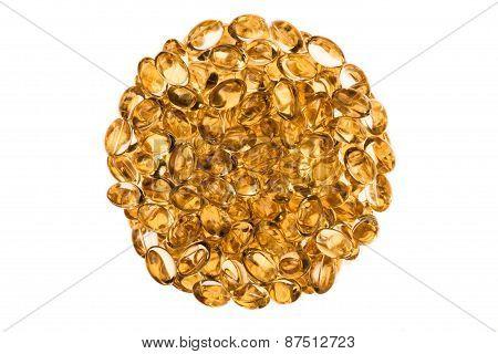 Circular Texture Of Transparent Vitamins Isolated