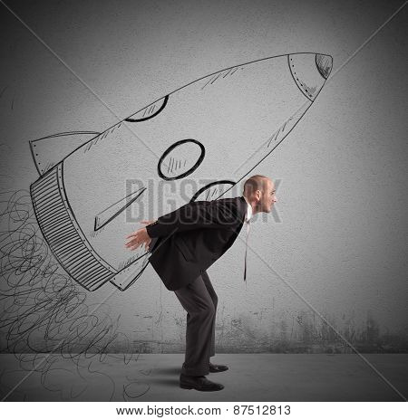 Businessman  with spaceship