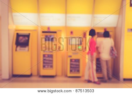 Blurred Background : People In The Bank