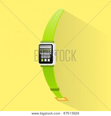 smart watch new technology electronic device with apps icons flat design