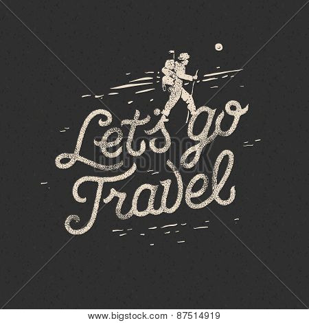 Lets go travel, hiker with backpack crossing rocky terrain. Adventure motivation concept