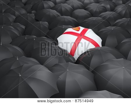 Umbrella With Flag Of Jersey