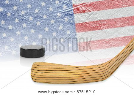 Stick, Puck And Hockey Field
