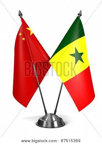 China and Senegal - Miniature Flags.