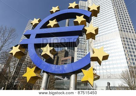 The Euro Sign Outside The European Central Bank