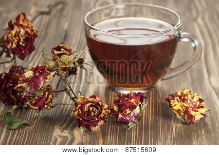Cup Of Tea And Dry Roses