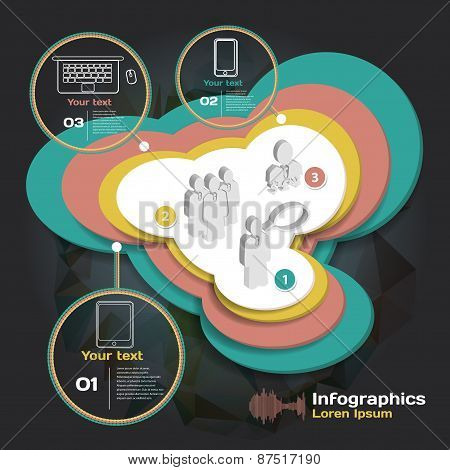 infographics with sound waves on dark background with business t