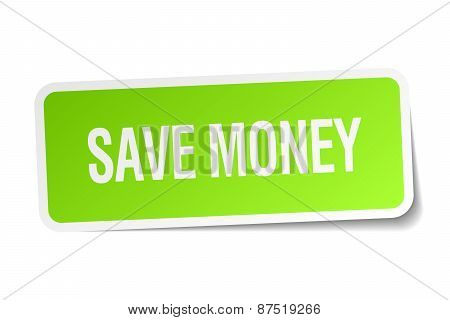 Save Money Green Square Sticker On White Background