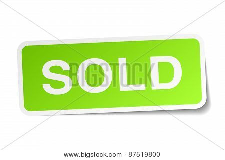 Sold Green Square Sticker On White Background
