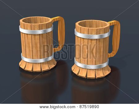 Two Wooden Beer Mugs.