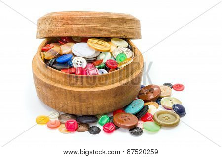 Round Wooden Box With Colorful Buttons
