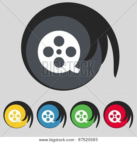 Film Icon Sign. Symbol On Five Colored Buttons. Vector