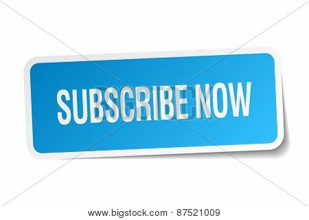 Subscribe Now Blue Square Sticker Isolated On White