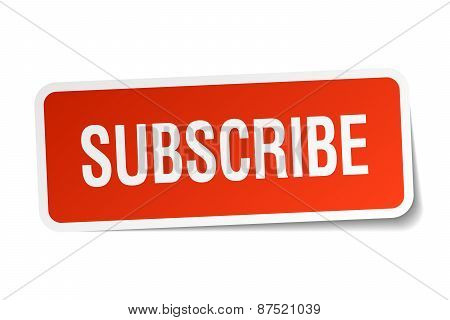 Subscribe Red Square Sticker Isolated On White