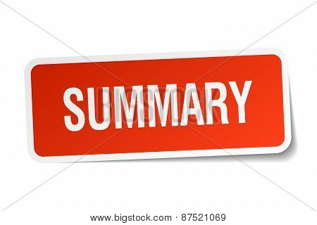 Summary Red Square Sticker Isolated On White