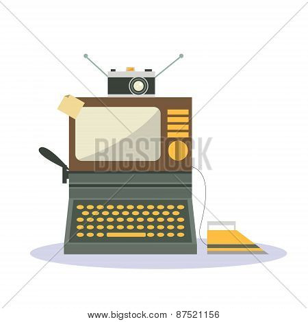 Isolated cartoon vintage television camera iron and typewriter