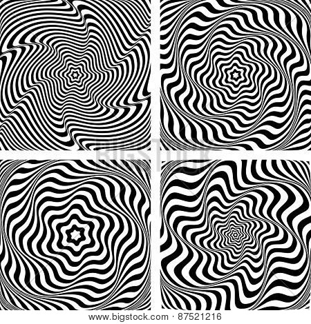Illusion of wavy rotation and torsion movement. Op art graphics set. Vector art.