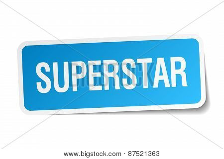 Superstar Blue Square Sticker Isolated On White