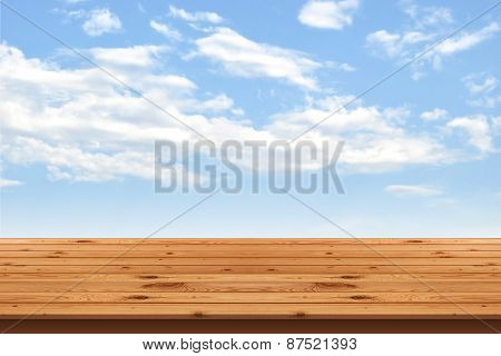 Wood Floor stripes and blue sky background