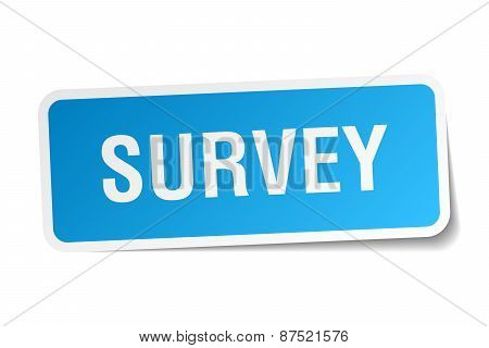 Survey Blue Square Sticker Isolated On White