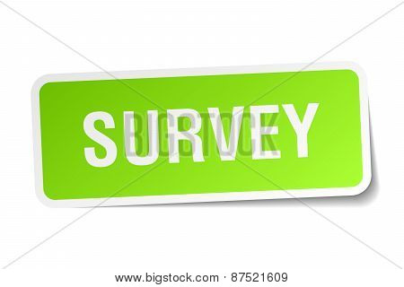 Survey Green Square Sticker On White Background
