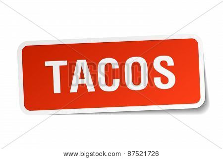 Tacos Red Square Sticker Isolated On White