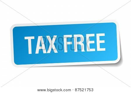 Tax Free Blue Square Sticker Isolated On White